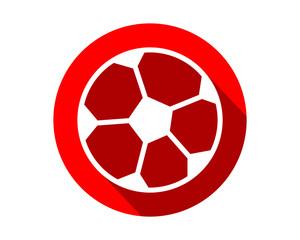 red soccer icon circle sports equipment tool utensil image vector