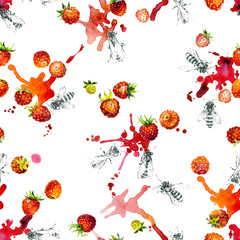 Ripe, red, tasty, healthy, wild, wild strawberry. Garden, rustic, appetizing strawberry. Wild, honey insects are bees. Juicy, liquid, water drops. Watercolor. Illustration