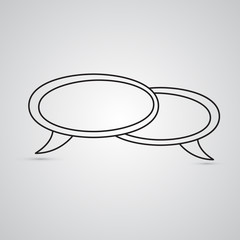 Carved silhouette flat icon, simple vector design. Two Speech bubbles for illustration for conversation, text and ads