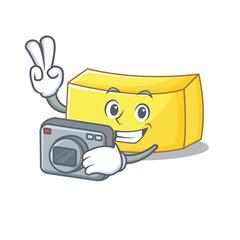 Photographer butter mascot cartoon style