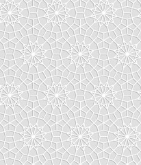 Gray and white geometric crochet lace circle stars seamless pattern, vector