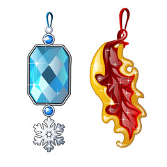 Two precious female jewelry - silver pendant with blue sapphire and snowflake and pendant in form of leaf. Image in cartoon style. Vector illustration isolated on white background