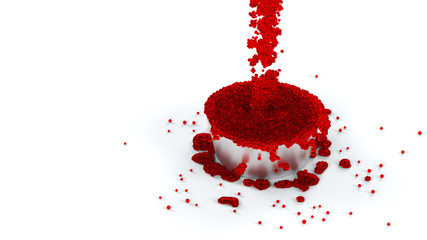Overflowing Metallic Cup of Red and Sticky Fluid with many micro balls which continue flowing