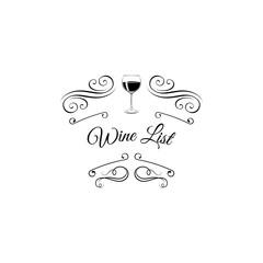 Wine list with bottle, swirls, ornate frame, line design.  illustration
