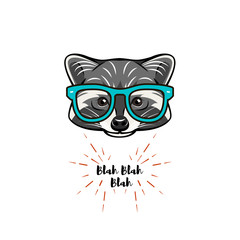Hand drawn vintage Illustration of raccoon with smart glasses. Raccon geek.  illustration.