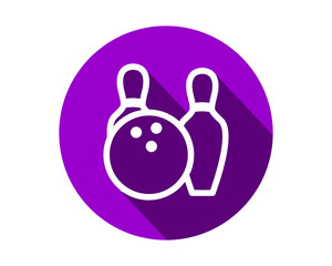 purple bowling icon circle sports equipment tool utensil image vector