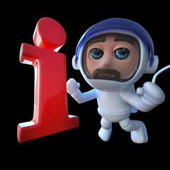 3d Funny cartoon spaceman astronaut character chasing an information symbol