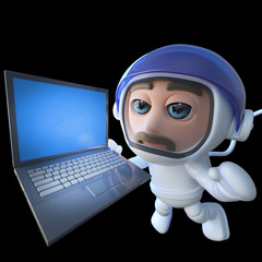 3d Funny cartoon spaceman astronaut character chasing a laptop in space
