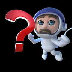3d Funny cartoon spaceman astronaut character chasing a question mark in space