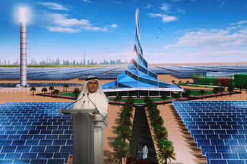 Saeed Al Tayer, Chief Executive Officer of DEWA speaks during the groundbreaking ceremony of the 4th phase of Mohammed bin Rashid Al Maktoum Solar Park, south of Dubai