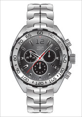 Realistic watch clock chronograph dark gray dial design for men fashion on white background vector illustration.