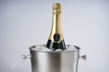 Luxury champagne bottle in ice bucket