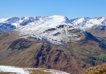 Snow covered mountains of Fairfield, St Sunday Crag & Dollywagon in the Lake District, England, UK.