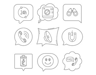 Phone call, battery and faq speech bubble icons.