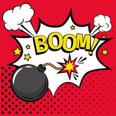 Cartoon bomb icon with text
