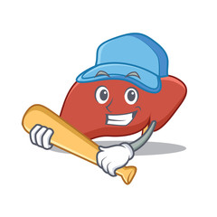 Playing baseball liver character cartoon style