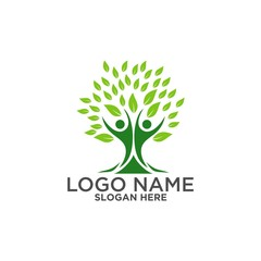 Tree logo ,People logo ,family logo ,green eco logo,Vector logo template