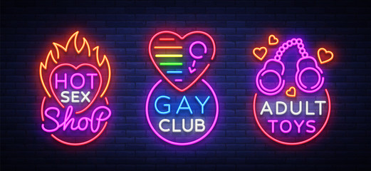 Sex shop set of logos in neon style. Neon sign collection, Gay club, Adult toys, Design template, Light banner on the theme of sex industry, Bright neon advertising. Vector illustration