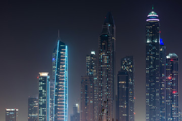 Skyline of of Dubai Marina at night, UAE