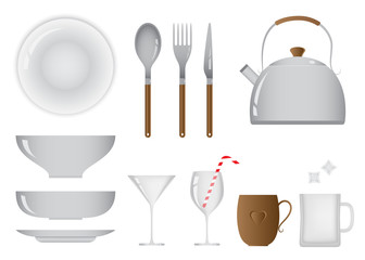 Everyday Object of Kitchen and Dining Equipment Set
