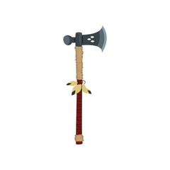 Axe with feathers, weapon of native American Indian vector Illustrationon a white background