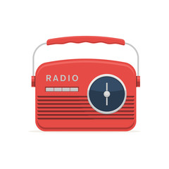 Red retro radio icon. Vector illustration in modern flat style isolated on white background
