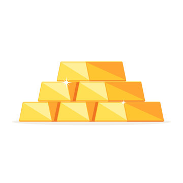 Stack of shiny gold ingots, bars. Concept business success, financial growth.Vector illustration in modern flat style isolated on white background