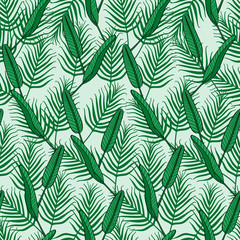Summer tropical palm leafs pattern vector seamless. Jungle green texture background. Design for wallpaper, fashion apparel, swimwear fabric, vacation beach party cards or web backdrop.