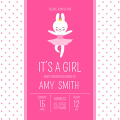 Cute baby shower girl invite card vector template. Cartoon animal illustration. Little ballerina design with dancing bunny in tiara. Kids newborn poster or birthday party invitation background.