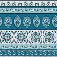 Floral indian paisley pattern vector seamless border. Vintage flower ethnic ornament for indonesia batik sarong fabric. Oriental folk design for bohemian blanket, yoga clothing, kashmir shawl.