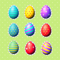 Easter eggs sticker set. Vector objects. Patch collection