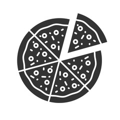 Pizza with one slice separated glyph icon