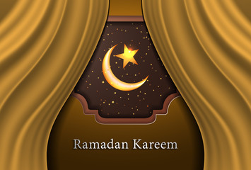 Modern Ramadan Kareem on curtain background vector illustration design graphic with islamic crescent moon 3D.