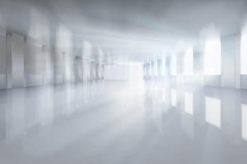 Large hall with the windows. Solar rays of light. Vector illustration.