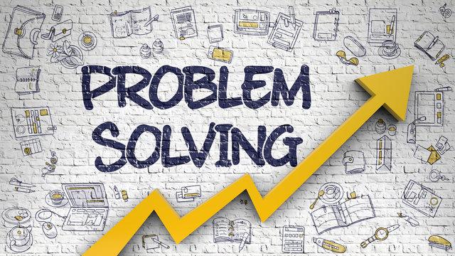 Problem Solving Drawn on White Brickwall. 3d