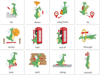 Cartoon dragon prepositions of movement. English grammar in pictures
