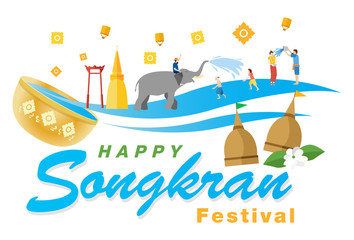 Songkran Festival Banner, Thai New Year's Day