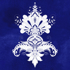Vector illustration with oriental traditional paisley flower. Blue seamless watercolor background. Hand drawing.