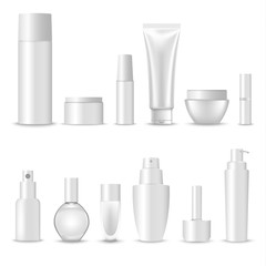 Collection of blank cosmetic preparations design template