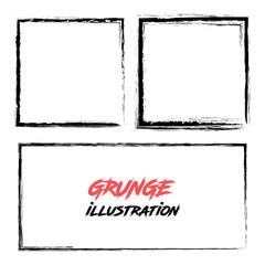 Set of grunge border frames. Vector illustration