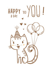 Birthday card  with cute cartoon cat  in  party hat. Vector contour  image no fill on white background. Little kitten. Funny animal.