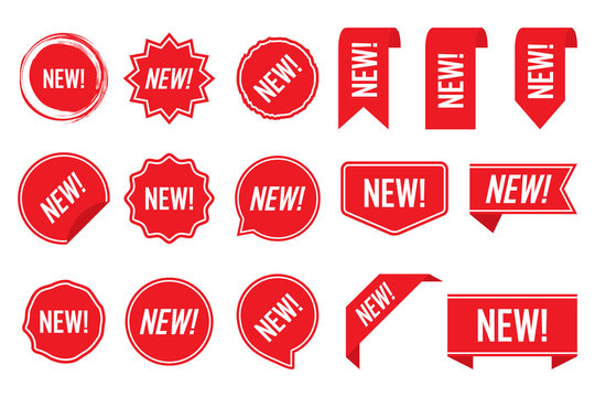 New labels, red isolated on white background, vector illustration