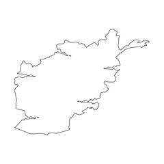Afghanistan linear map on a white background. Vector illustration