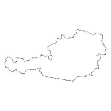 Austria linear map on a white background. Vector illustration