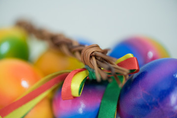 Traditional Easter eggs and korbash as spring symbol in Slovakia