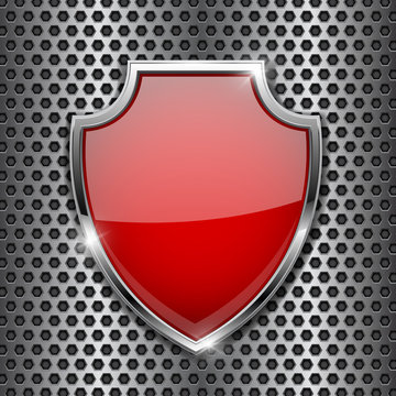Metal 3d red shield on metal perforated background