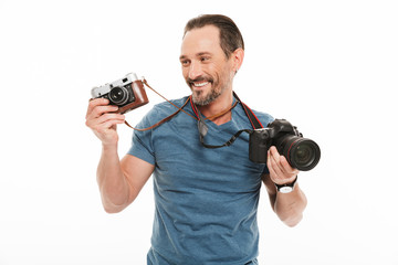 Happy handsome mature man photographer