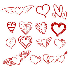 Vector heart hand draw red set concept eps 10