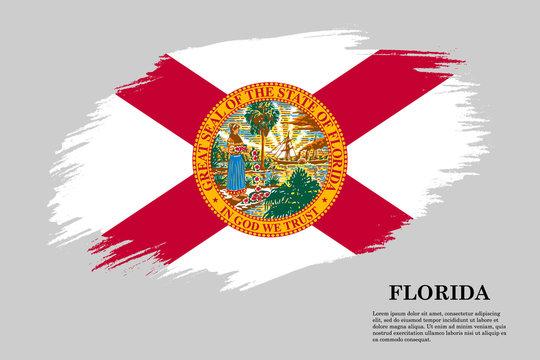 florida Grunge styled flag. Brush stroke background