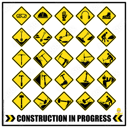 Set Of Safety Caution Signs And Symbols For All Construction Site Or